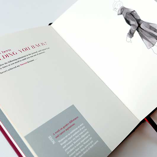 Open pages of success journal showing question details and line drawing of a woman walking away