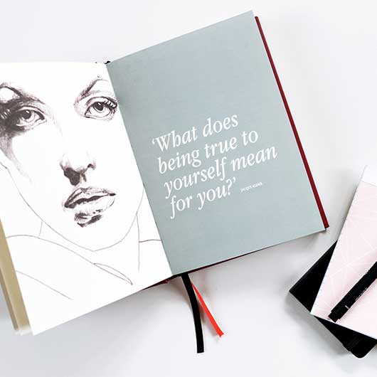 line drawing of a woman's face asking the question 'What does being true to yourself mean for you?' from inside the pages of Clarity Simplicity Success A Self Coaching Journal for Women by Jacqui Alder