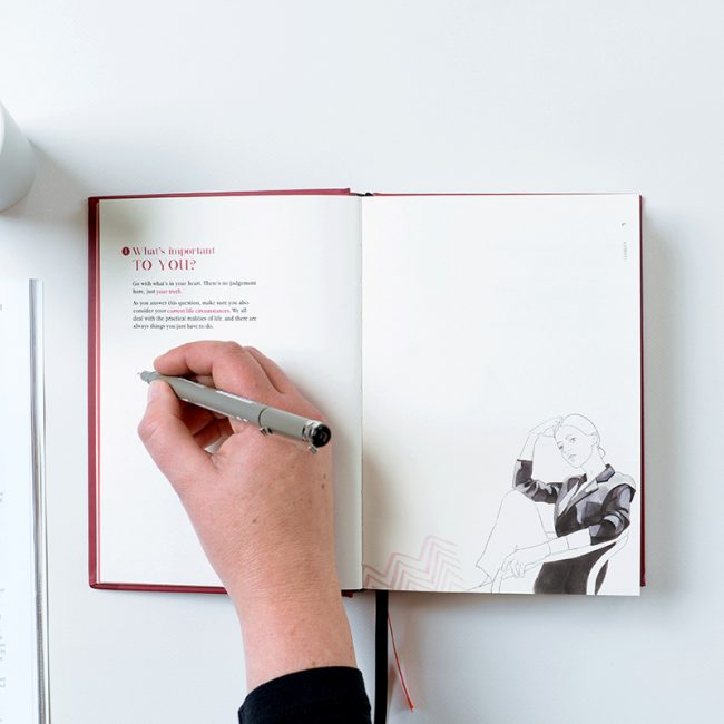 Flatlay photograph of Clarity Simplicity Success Journal for Women by Jacqui Alder showing woman writing on page answering the question, What's important to you? Drawing of seated, pensive woman is looking out from the bottom corner of the right hand page