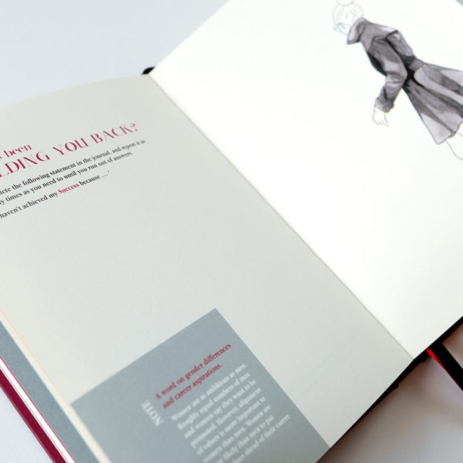 Open pages of Clarity Simplicity Success Journal for Women showing question 'What's Holding You Back?' and line drawing of a woman walking away