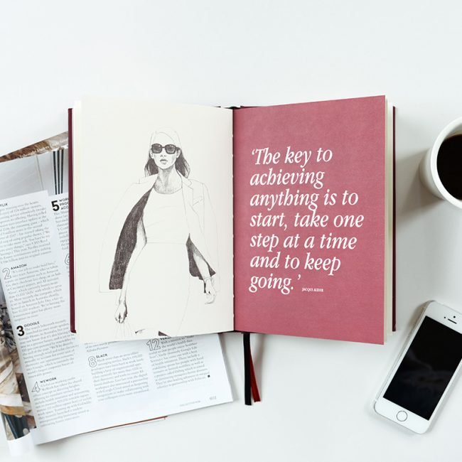 line drawing of a woman walking confidently with a quote about success on the facing page from the pages of Clarity Simplicity Success Journal for Women by Jacqu