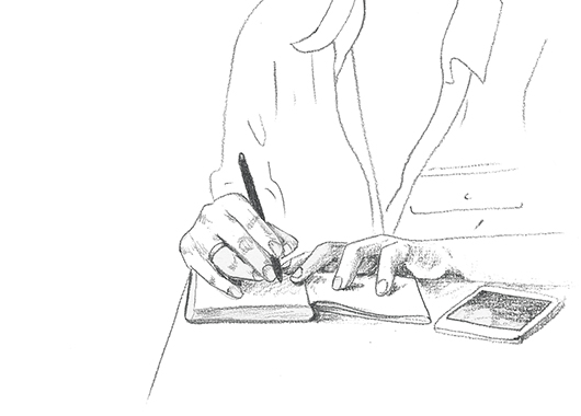 Line drawing of woman writing in a journal