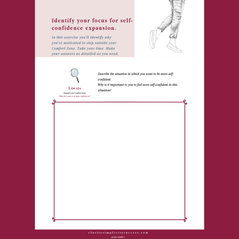 Identify your focus self-coaching guide page from inside theSelf-confidence Building Kit by Jacqui Alder Page 2